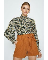 Coast High Neck Floral Long Sleeve Top - Yellow