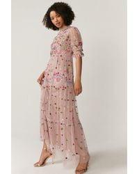 Coast Feather Detail Plunge Dress - Pink