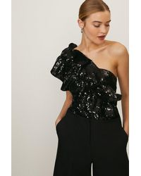 Coast Sequin Embellished One Shoulder Top - Black