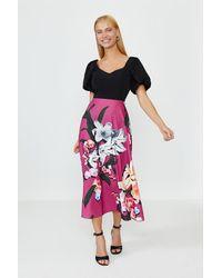Coast Solid Bodice Printed Skirt Midi Dress - Pink