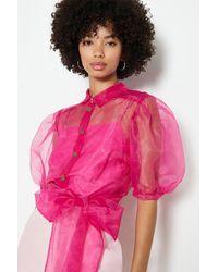 Coast Plain Organza Puff Sleeve Top - Pink