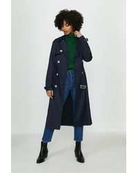Coast Belted Long Trench Coat - Blue