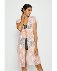 Coast Tie Front Beach Cover Up - Pink
