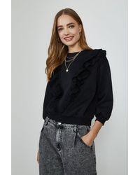 Coast Ruffle Detail Sweatshirt - Black