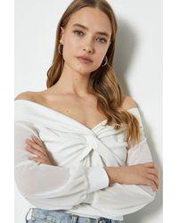 Coast Long Sleeve Bardot Twist Top - White