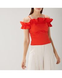 Coast Marilyn Cotton Ruffle Top - Rojo