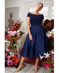 Coast Curve Bardot Neck Embroidered Midi Dress - Blue