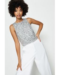 Coast All Over Sequin Cropped Top - Metallic