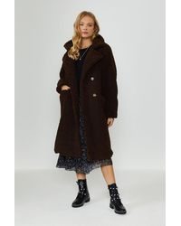 Coast Double Breasted Maxi Teddy Coat - Brown