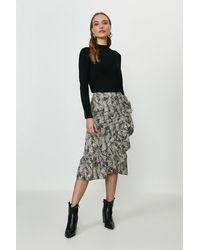 Coast Printed Ruffle Wrap Midi Skirt - Black