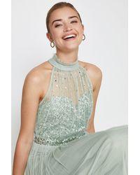 Coast High Neck Sequin Mesh Maxi Dress - Green