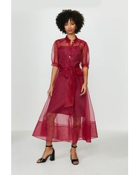 Coast Organza Puff Sleeve Dress - Red