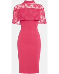 Coast Caped Embroidered Shift Dress - Pink