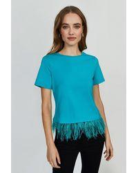 Coast Feather Hem T-shirt - Blue