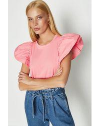 Coast Puff Sleeve T-shirt - Pink