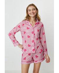 Coast Button Up Top And Short Pyjama Set - Pink