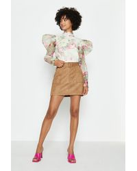 Coast Faux Suede Belted Mini Skirt - Brown