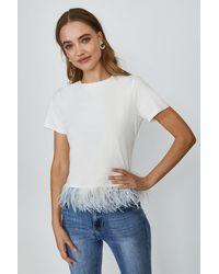Coast Feather Hem T-shirt - White