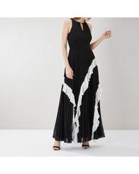 Coast Rosamund Pleated Maxi Dress Me - Negro