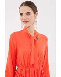 Coast Tie Neck Pleat Shirt Dress - Red