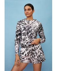 Coast Printed Loopback Shorts - Grey