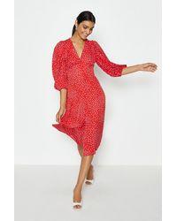 Coast V-neck Puff Sleeve Spot Midi Dress - Red