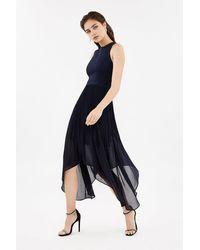 Coast Dip Hem Pleated Skirt Dress - Blue
