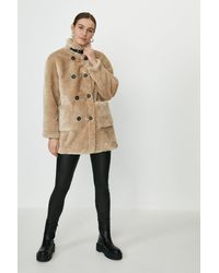 Coast Button Detail Teddy Coat - Natural