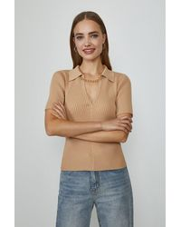 Coast Knitted Rib Chain Detail Collared Top - Natural