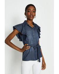 Coast Frill Sleeve Shirt - Blue