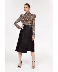 Coast Longline Pu Skirt - Black