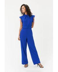 Coast Belted Wide Leg Jumpsuit Blue
