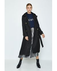 Coast Pleated Trench Coat - Black
