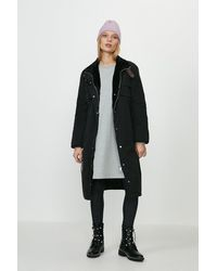 Coast Faux Fur Lined Coat - Black
