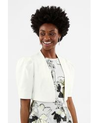 Coast Puffed Shoulder Cropped Jacket - White