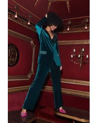 Coast Belted Velvet Straight Leg Trouser - Green