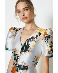 Coast Puff Sleeve Jacquard Dress - Orange