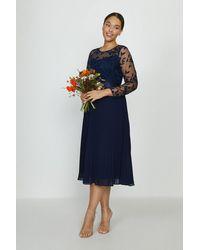 Coast Curve Embroidered Long Sleeve Midi Dress - Blue