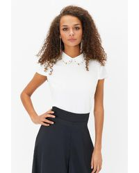 Coast Short Sleeve Jewelled Collar Shell Top - White