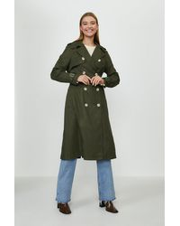 Coast Belted Long Trench Coat - Green