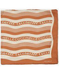 Coccinelle Logo Stripes Print Tan Seta - Marrone