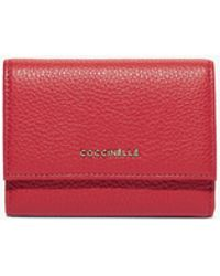 Coccinelle Metallic Soft Cherry Grainy Leather - Red