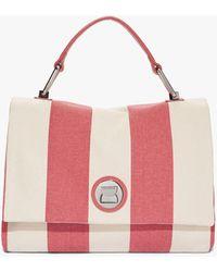 Coccinelle Liya Striped Canvas Bouganville Canvas und Bottalata-Leder - Pink