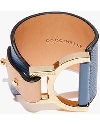 Coccinelle Arlettis Denim Natural Grain Leather And Metal - Blue