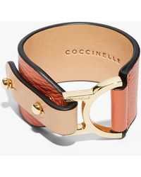 Coccinelle Arlettis Peach Natural Grain Leather And Metal - Multicolor