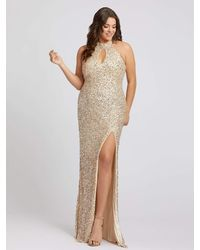 Mac Duggal Halter Neck Sequin Sheath Gown-nude Gold - Metallic