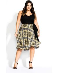 e18bc5071 LOFT Tall Golden Floral Flare Dress in Black - Lyst
