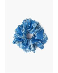 Chan Luu Voloptuous Silk Plaid Scrunchie In Palace Blue