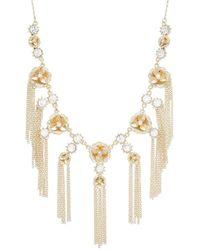 Catherine Malandrino Rhinestone Flower & Fringe Bib Style Necklace - Metallic