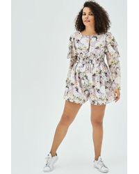 Elvi Oda Ruffle Sleeve Playsuit In Romantic Floral Print - Multicolor